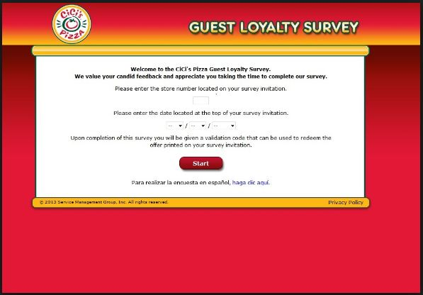 Cici pizza guest satisfaction survey