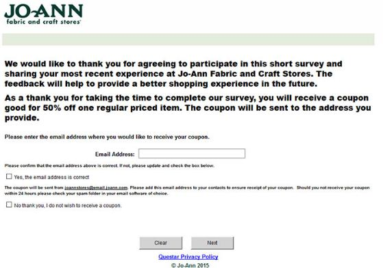 Joann Guest Satisfaction Survey