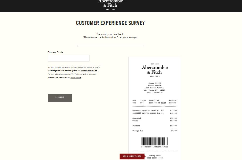 Abercrombie & Fitch Guest Feedback Survey