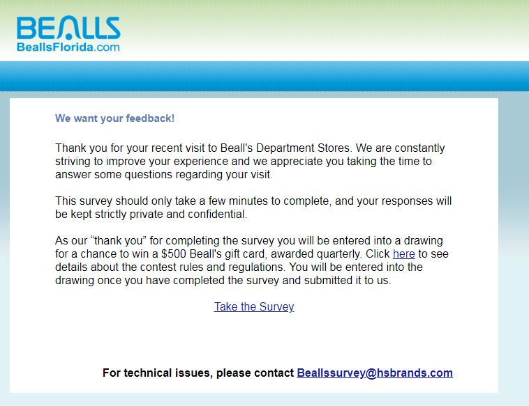 Bealls Florida Customer Satisfaction Survey