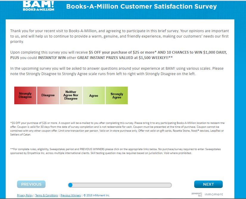 Books A Million Customer Feedback Survey