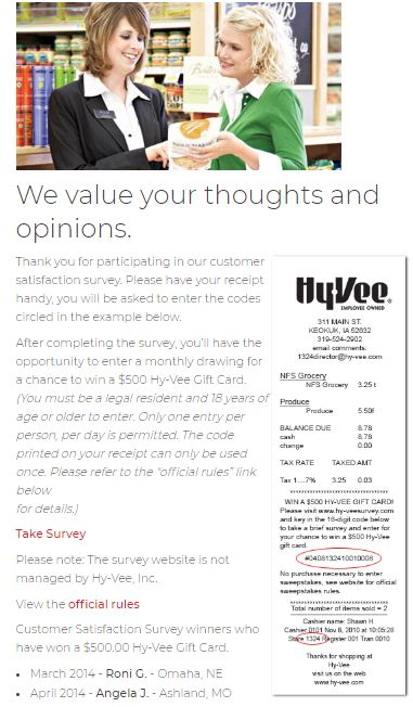 Hy-Vee Customer Satisfaction Survey