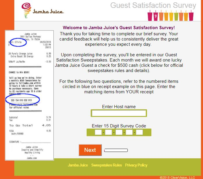 Jamba Jiice Guest Satisfaction Survey