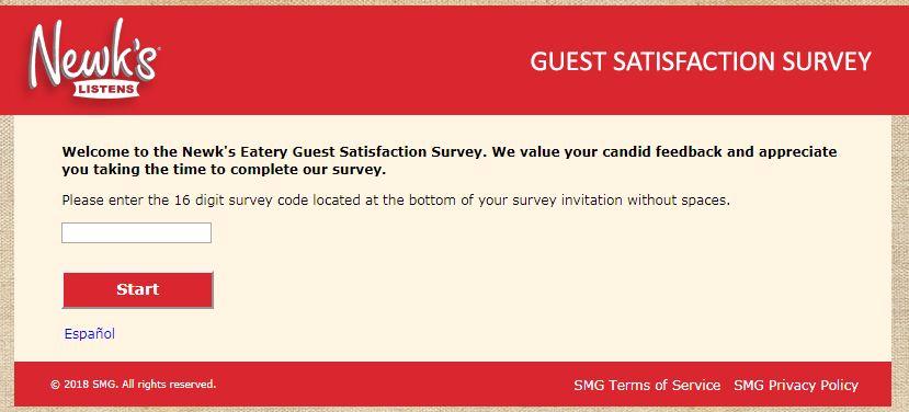 Newk's Eatery Guest Satisfaction Survey