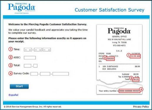 Piercing Pagoda Customer Satisfaction Survey