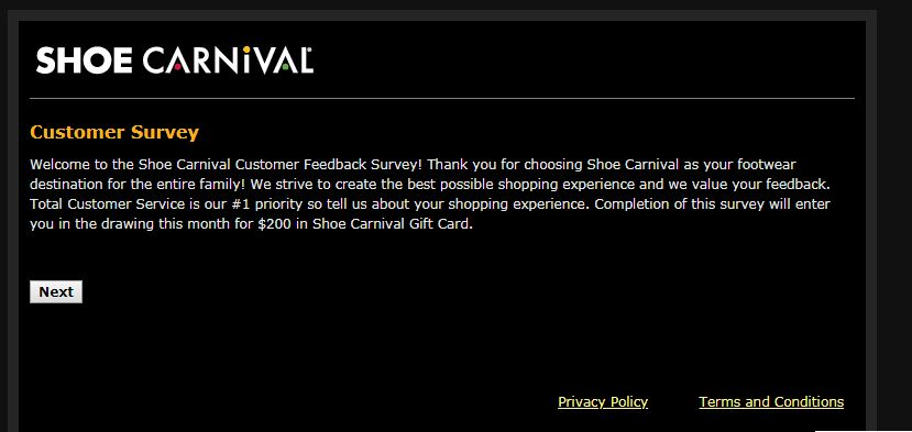 Shoe Carnival Guest Satisfaction Survey