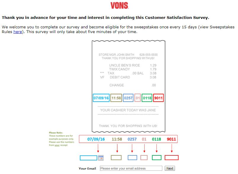 Vons Customer Feedback Survey