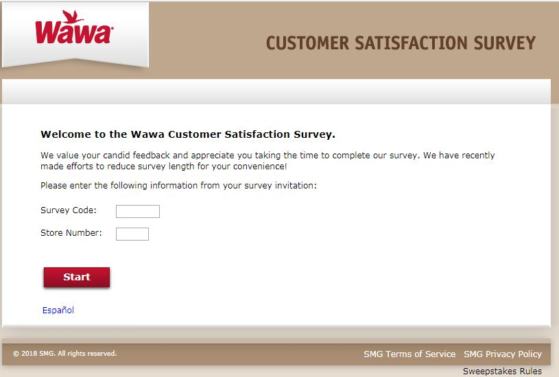 Wawa Guest Satisfaction survey