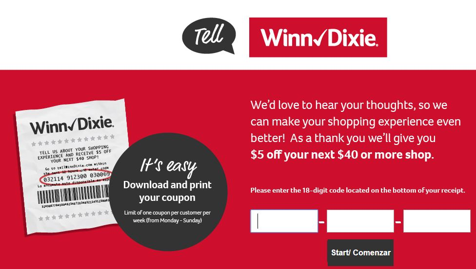 Winn Dixin Guest Satisfaction Survey