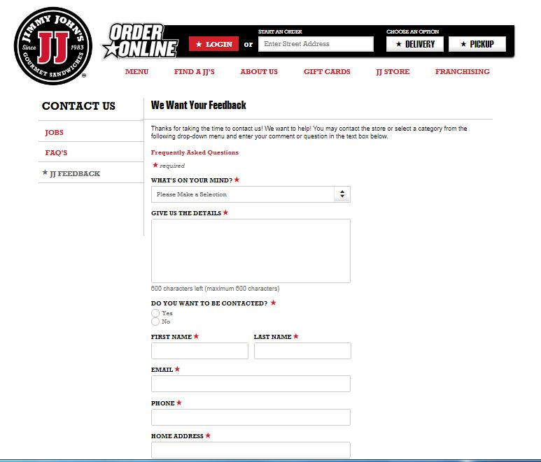 Jimmy John's Customer Satisfaction Survey