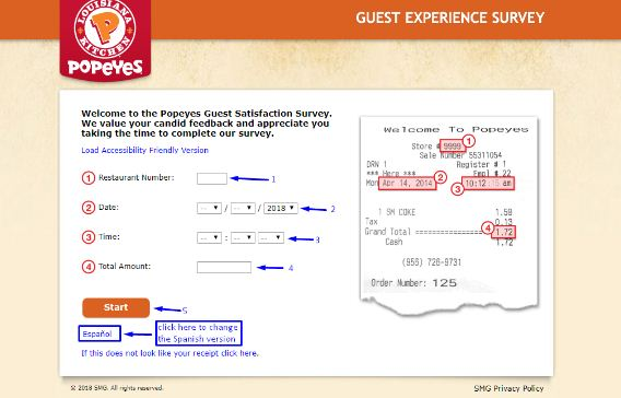 Popeye's Customer Experience Survey