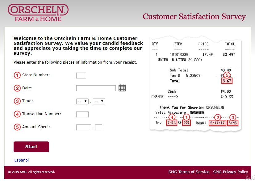 Orscheln Farm & Home Customer Satisfaction Survey