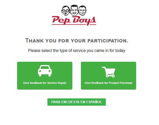 Pep Boys Guest Satisfaction Survey