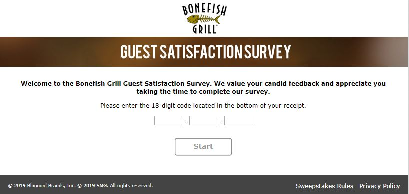 Bonefish Grill Guest Satisfaction Survey