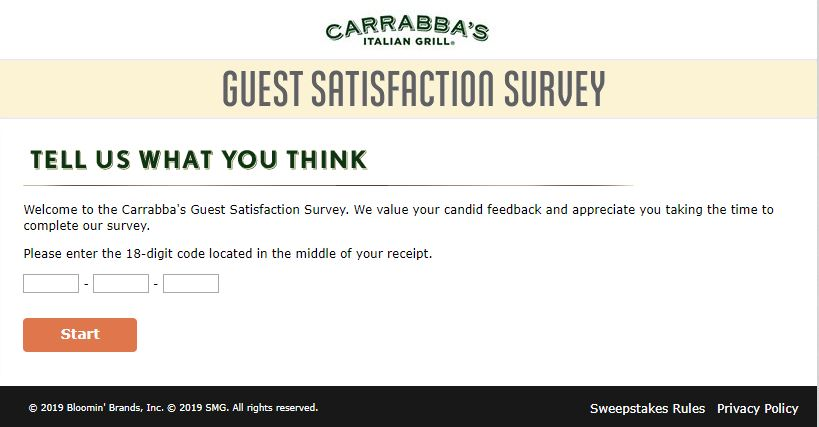 Carrabbas Guest Satisfaction Survey