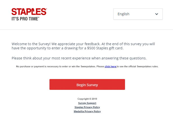 Staples Guest Satisfaction Survey