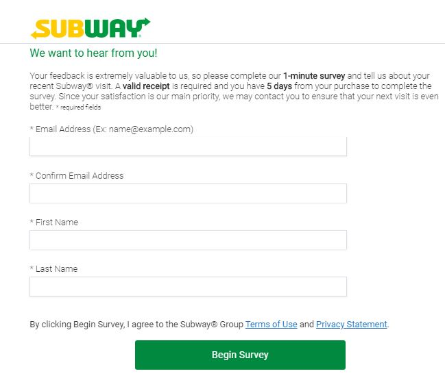 Subway Guest Satisfaction Survey