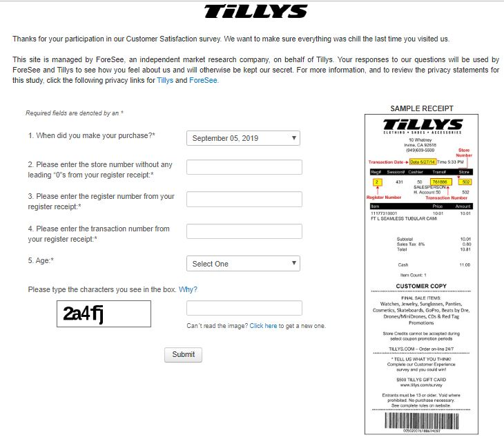 Tillys Guest Satisfaction Survey