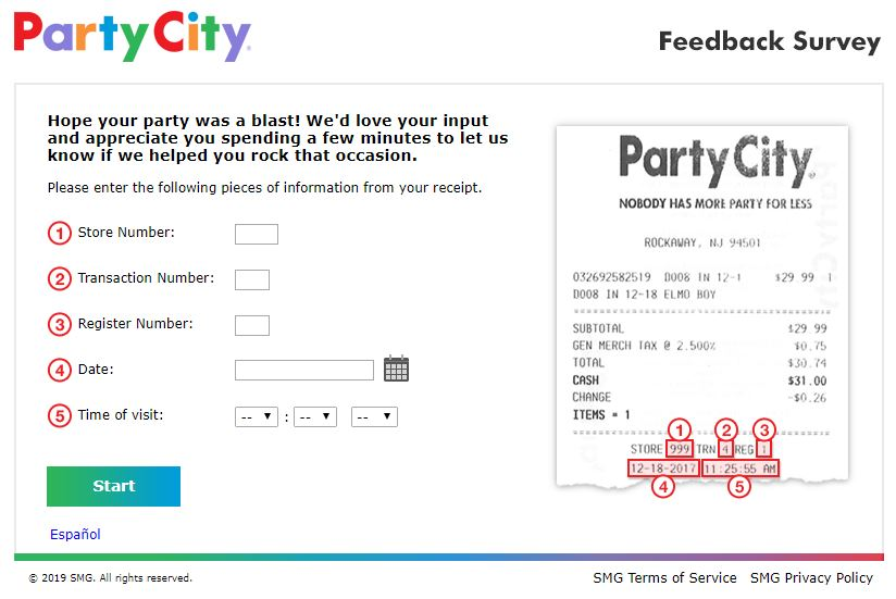 Party City Satisfaction Survey