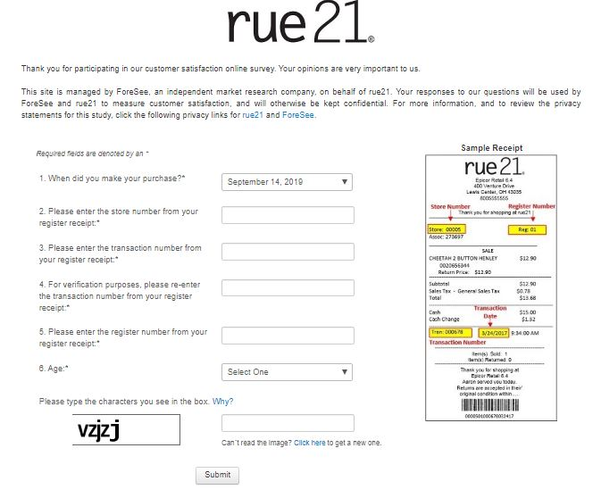 rue21 Guest Satisfaction Survey
